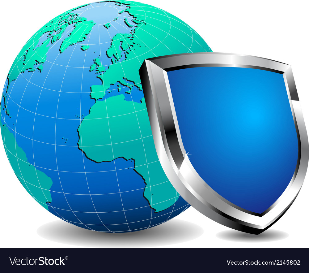 Shield with world vector | Price: 1 Credit (USD $1)