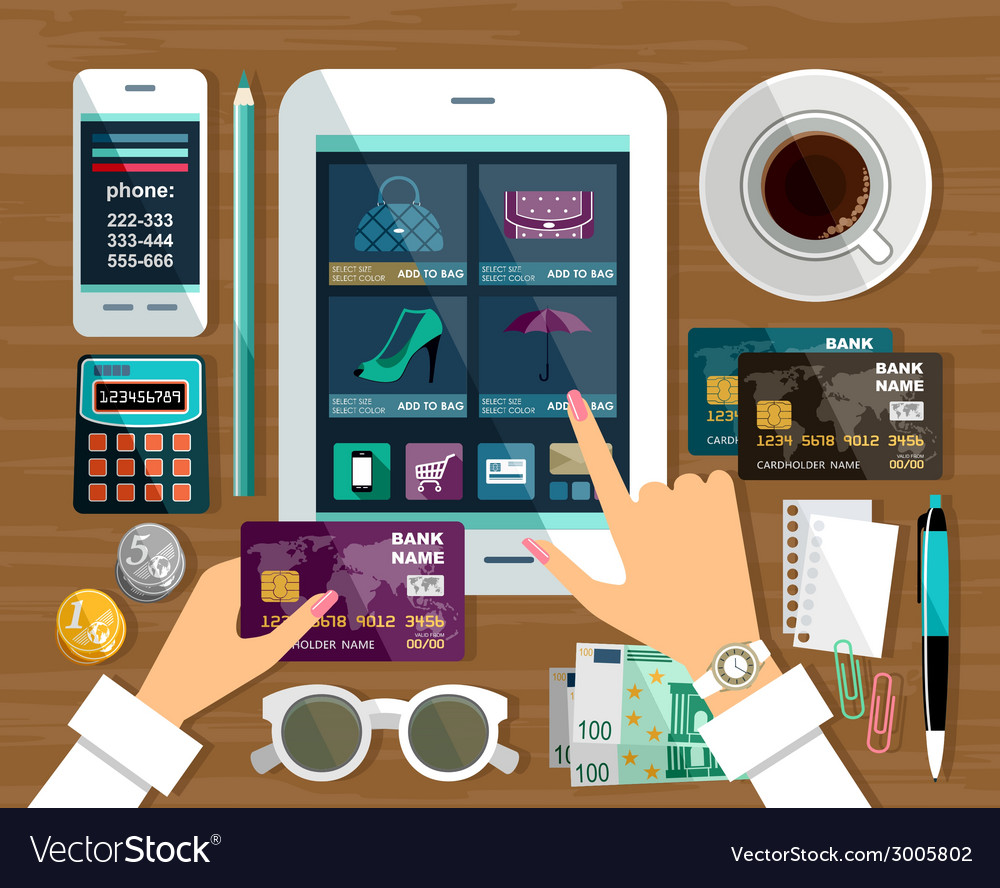 Shopping in online store vector | Price: 1 Credit (USD $1)