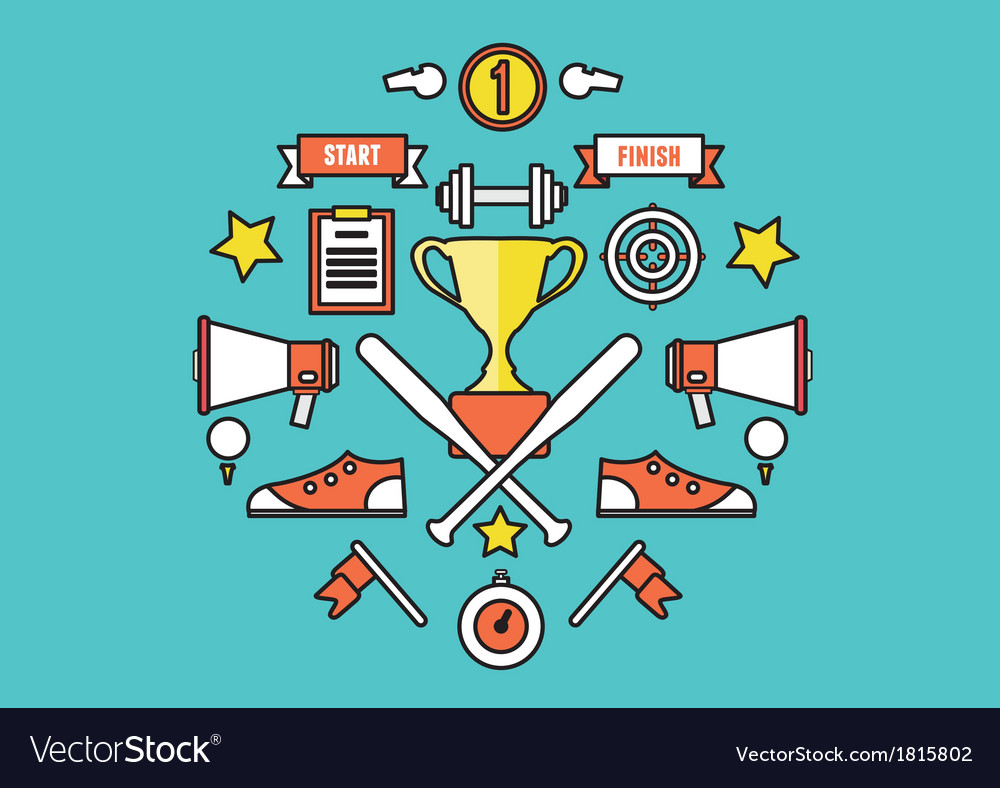 Sport symbols in circle flat style design vector | Price: 1 Credit (USD $1)
