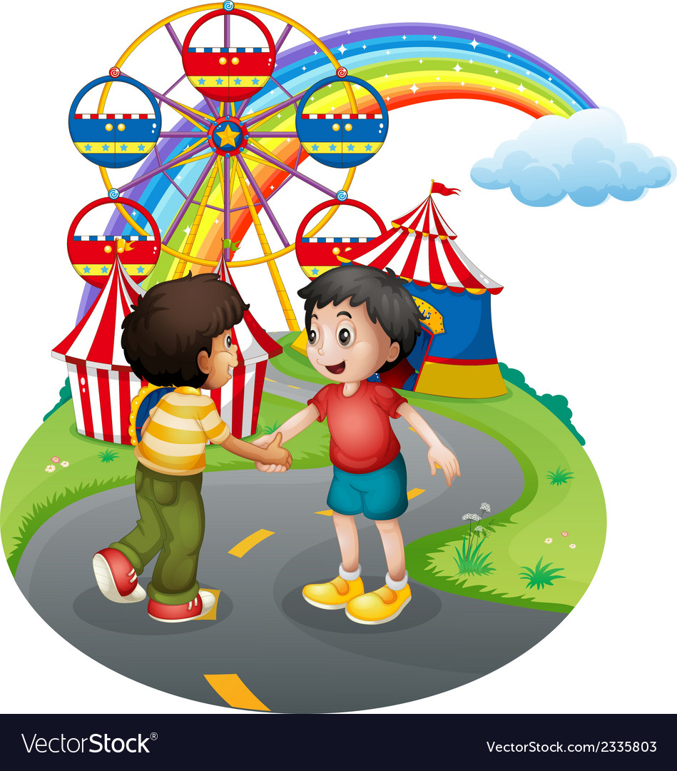 Boys handshaking in front of the carnival vector | Price: 3 Credit (USD $3)