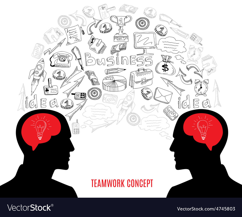 Business teamwork concept icons composition vector | Price: 1 Credit (USD $1)