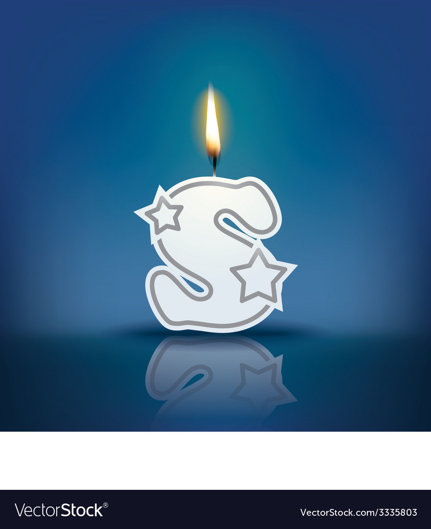 Candle letter s with flame vector | Price: 1 Credit (USD $1)