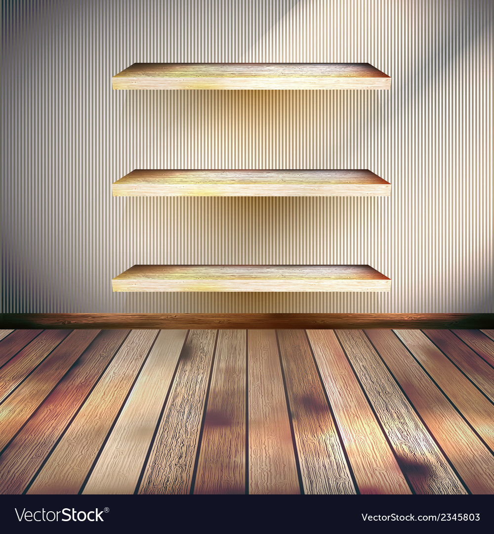 Empty three wood shelf on wall eps 10 vector | Price: 1 Credit (USD $1)