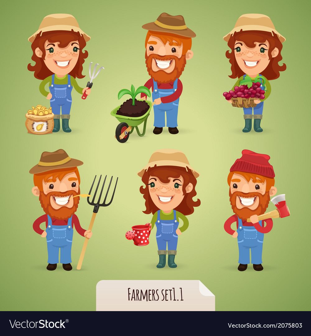 Farmers set1 1 vector | Price: 1 Credit (USD $1)