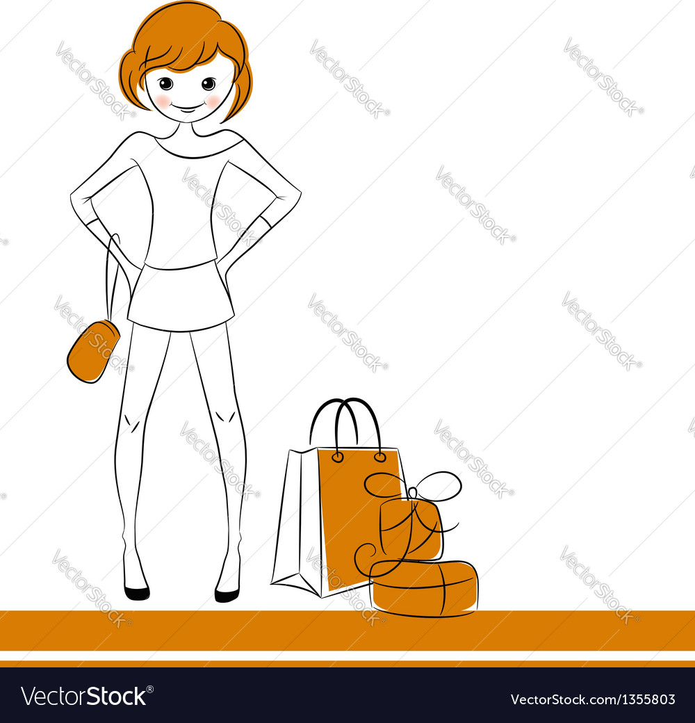 Fashion girl with sale bag vector | Price:  Credit (USD $)
