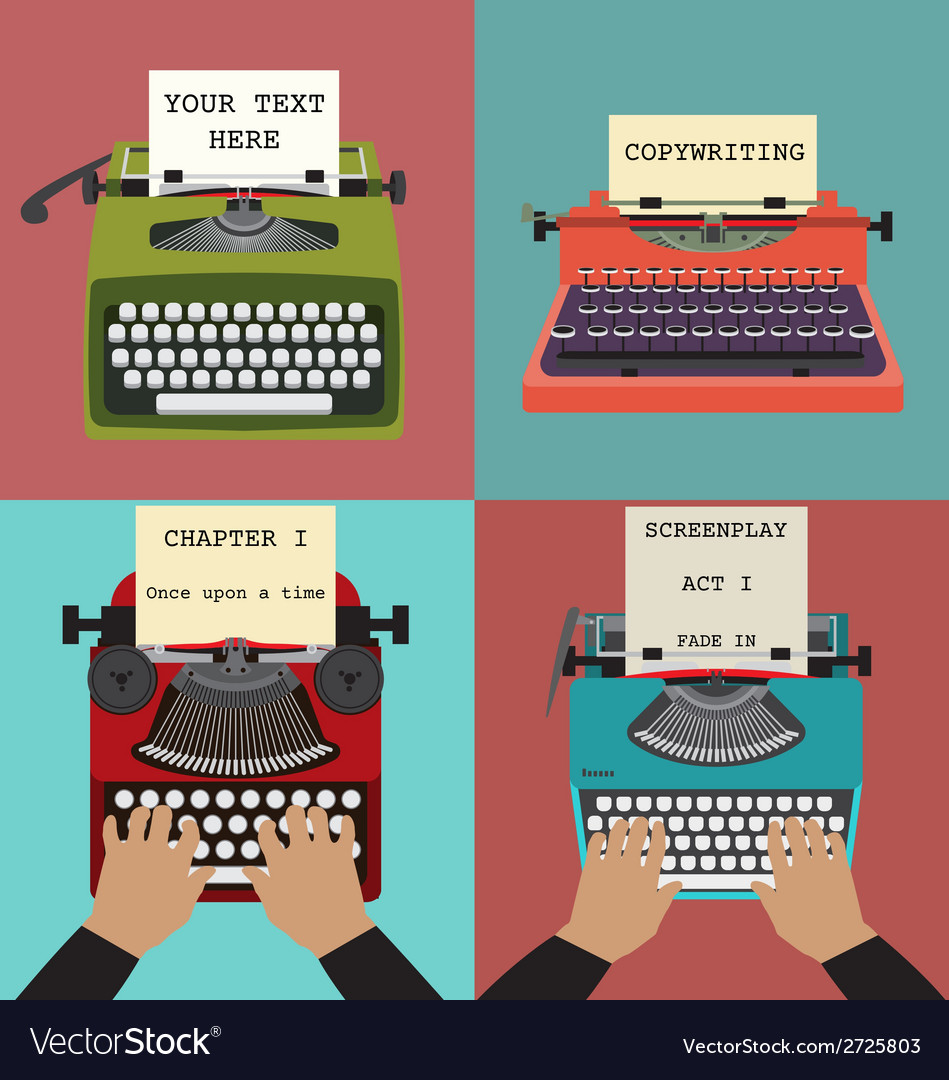 Four retro typewriters vector | Price: 1 Credit (USD $1)