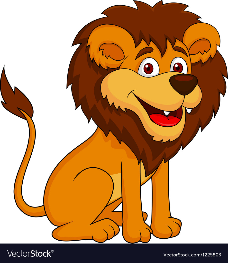 Funny lion cartoon sitting vector | Price: 3 Credit (USD $3)