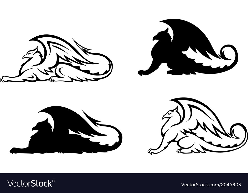 Heraldic griffins vector | Price: 1 Credit (USD $1)