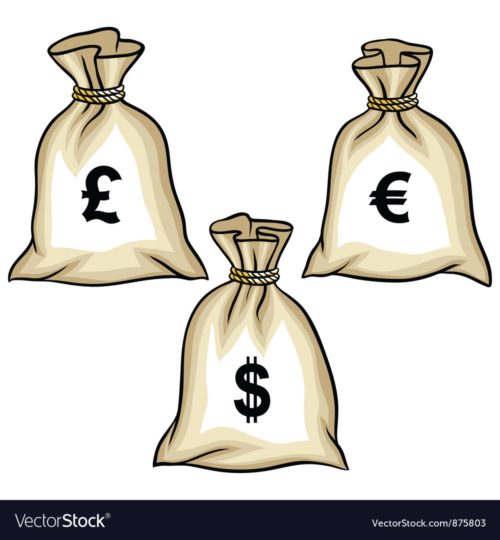 Money bags with dollars euro and pound vector   Price: 1 Credit (USD $1)