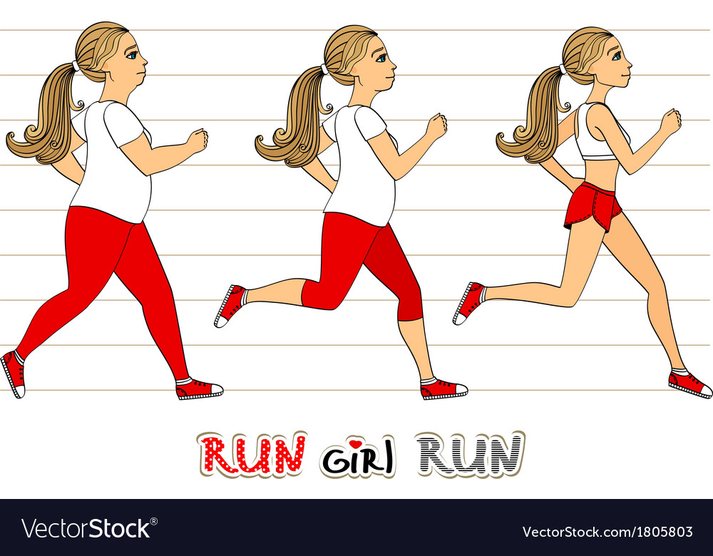 Running woman weight loss progress vector | Price: 1 Credit (USD $1)
