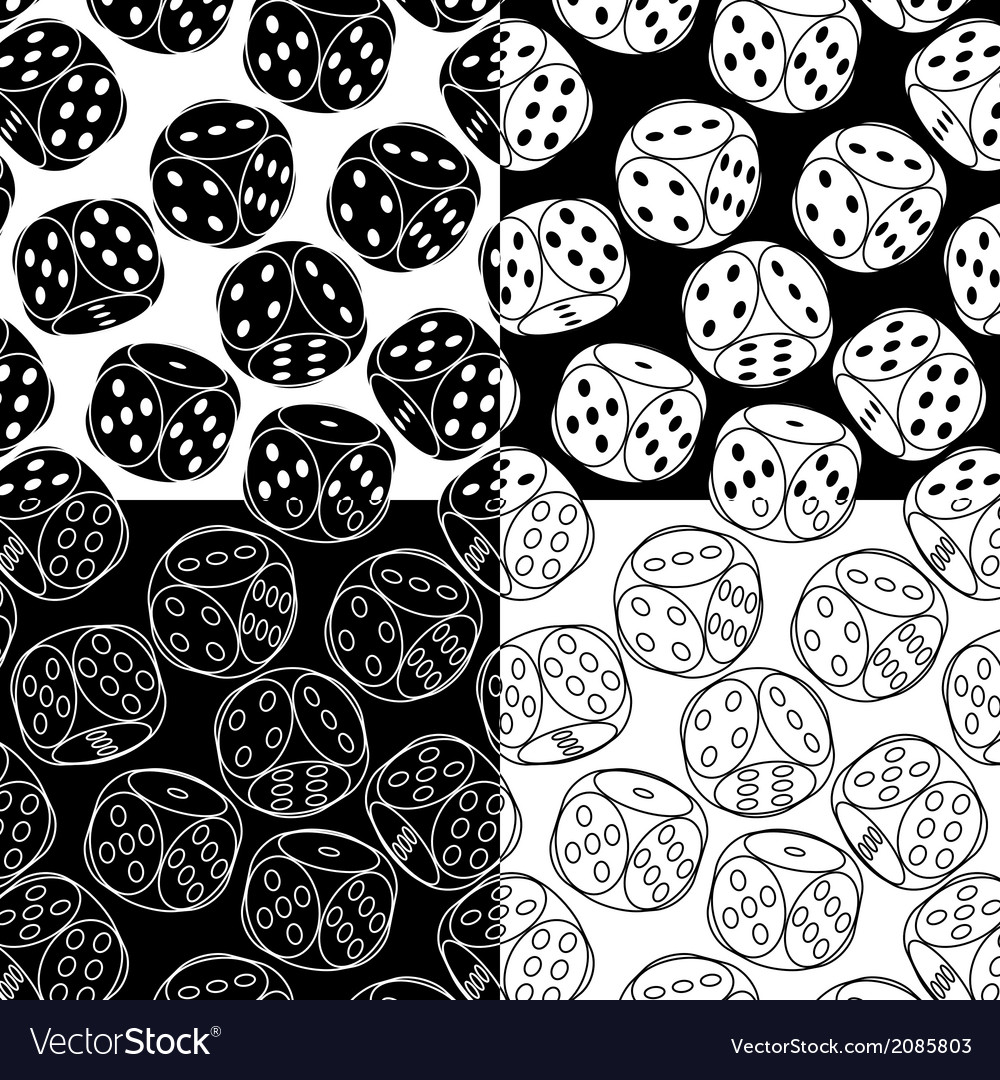 Seamless patterns with dices vector