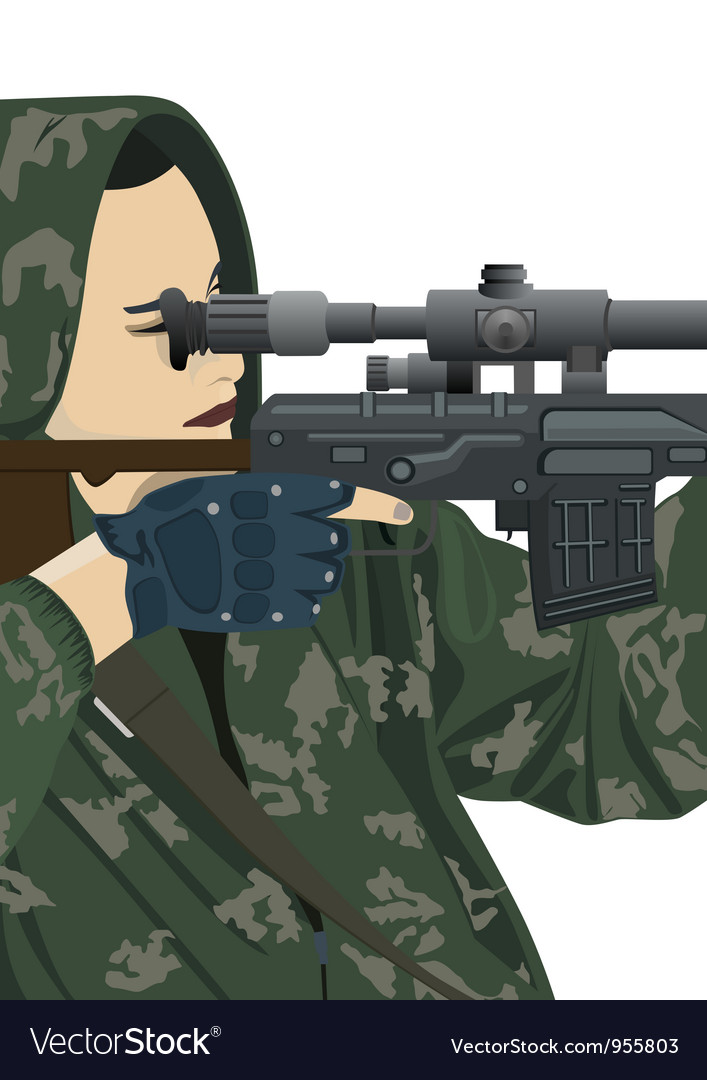 Sniper and sniper scope vector | Price: 3 Credit (USD $3)