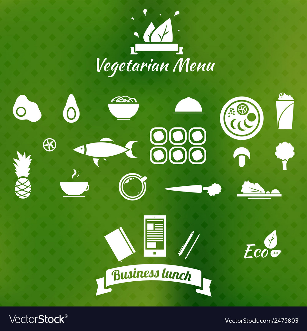 Vegetarian menu icons on blurred background vector | Price: 1 Credit (USD $1)