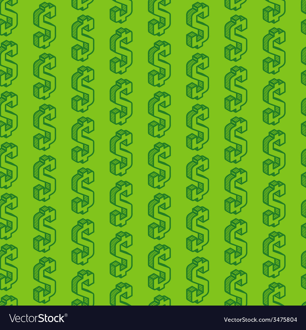 Abstract seamless pattern with isometric dollar vector | Price: 1 Credit (USD $1)