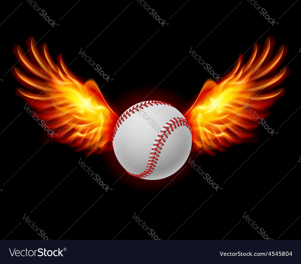 Baseball fiery wings vector | Price: 1 Credit (USD $1)