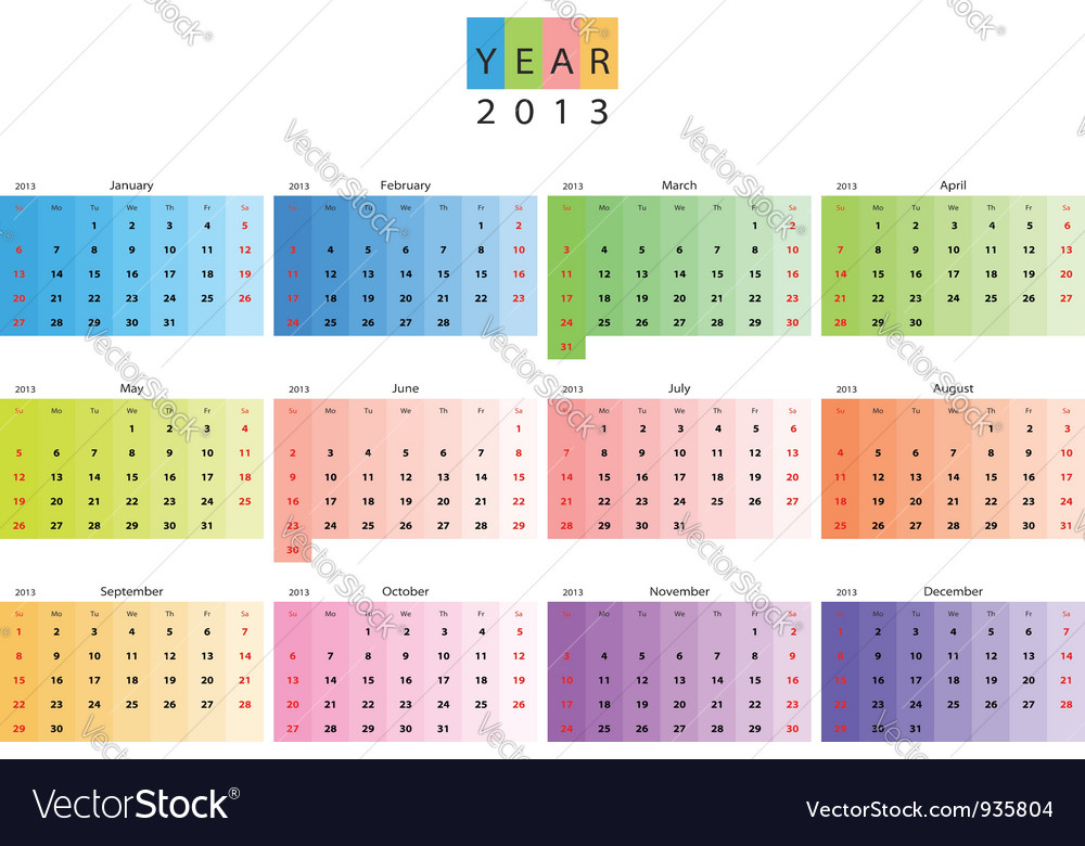 Calendar 2013 vector | Price: 1 Credit (USD $1)