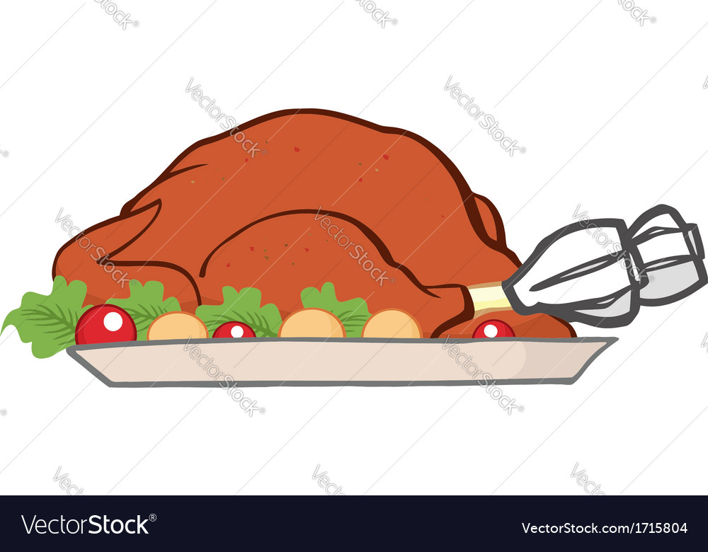 Cartoon turkey meal vector | Price: 1 Credit (USD $1)