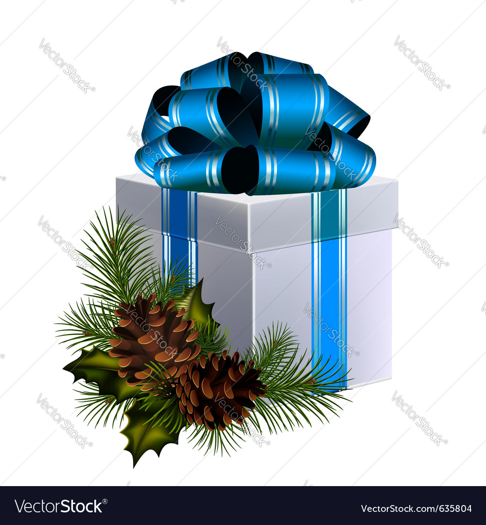Christmas gift with big blue bow decorated with co vector | Price: 1 Credit (USD $1)