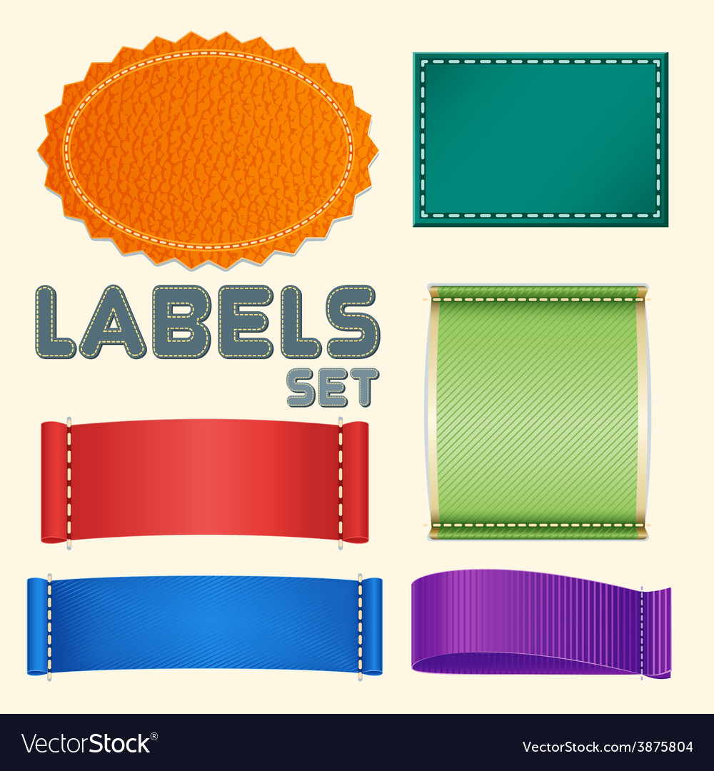 Collection of five colorful blank labels or badges vector | Price: 1 Credit (USD $1)