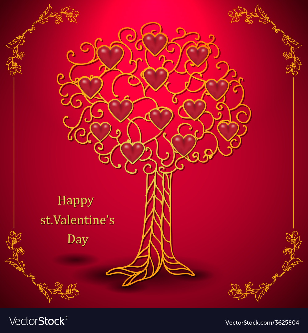 Gold valentines day tree forged with hearts vector | Price: 1 Credit (USD $1)