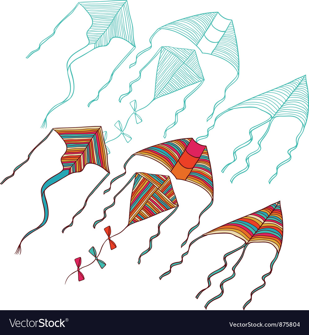 Kites for your design hand drawn vector | Price: 1 Credit (USD $1)