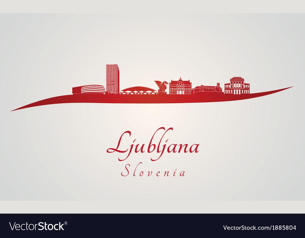 Ljubljana skyline in red vector | Price: 1 Credit (USD $1)