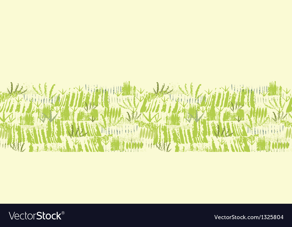 Painting of green grass horizontal seamless vector | Price: 1 Credit (USD $1)
