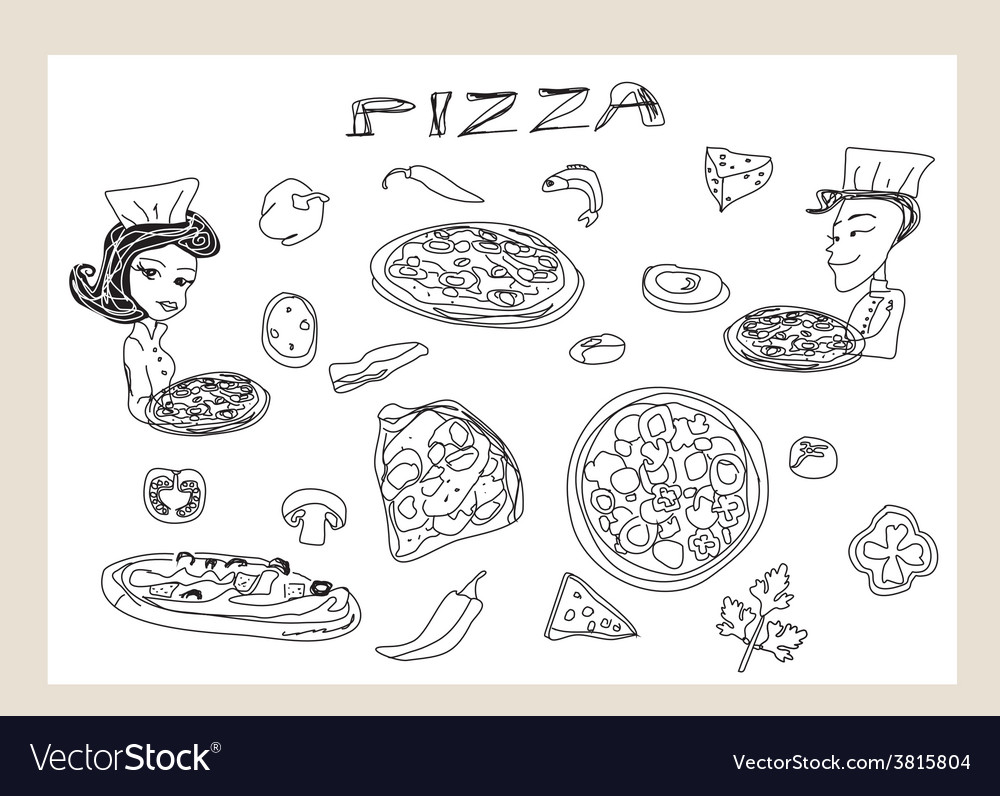Pizza and vegetables doodle set vector | Price: 1 Credit (USD $1)