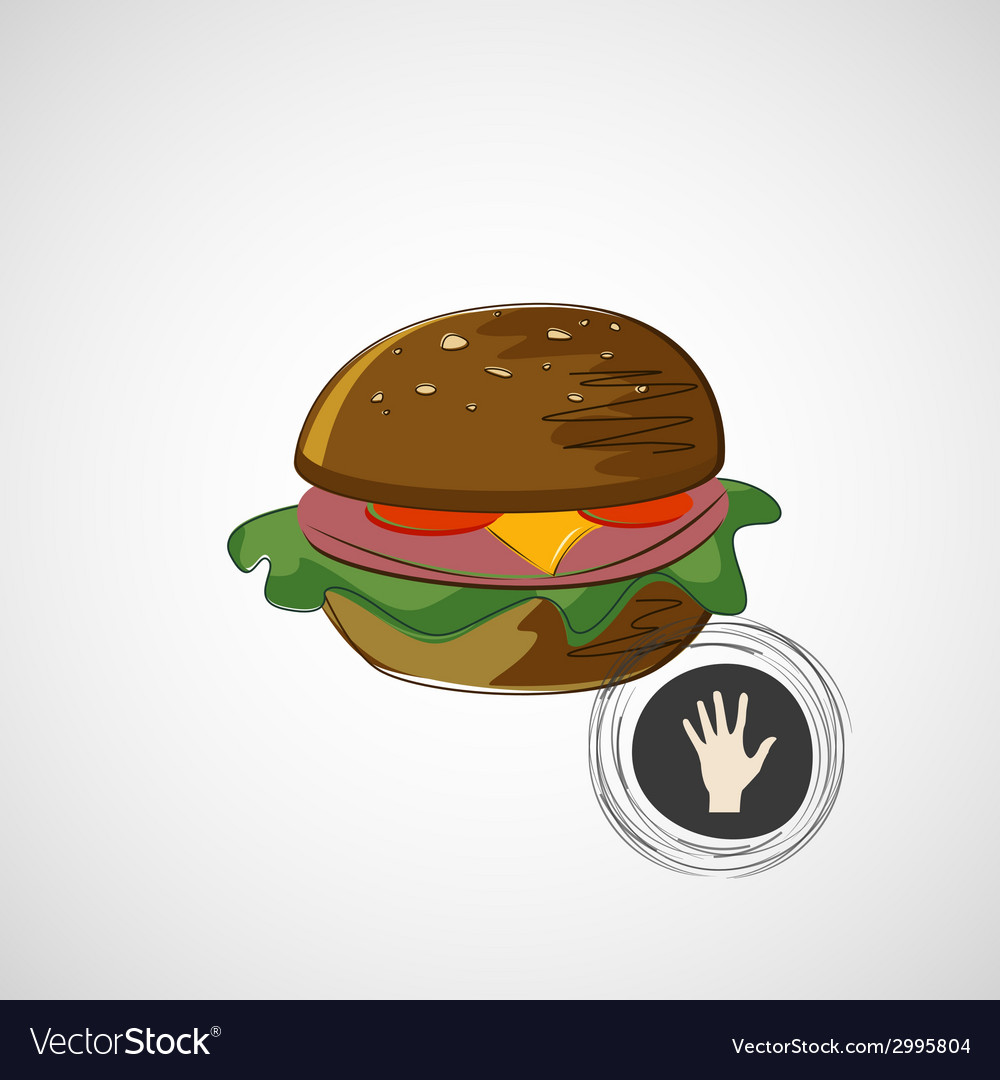 Sketch juicy and tasty burger icon vector | Price: 1 Credit (USD $1)