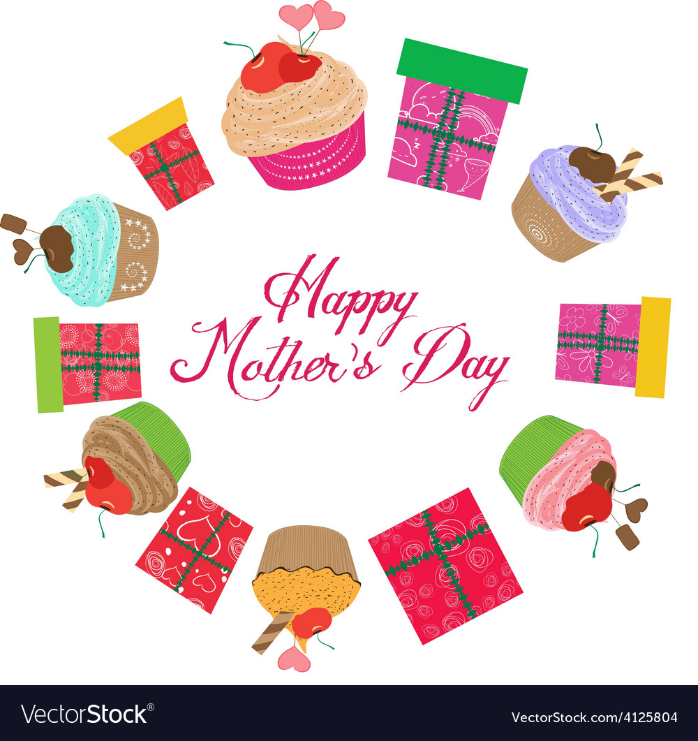 Vintage mothers day cupcakes and gifts vector | Price: 1 Credit (USD $1)