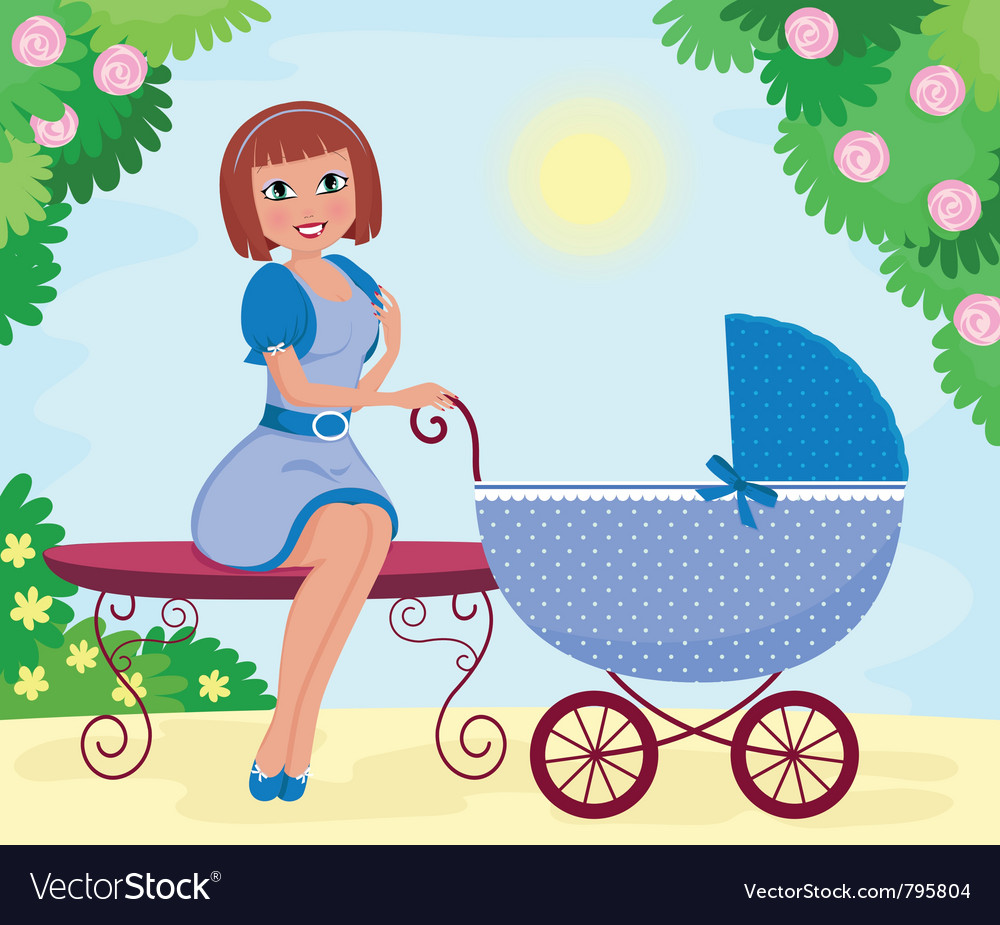 Woman with stroller vector | Price: 1 Credit (USD $1)