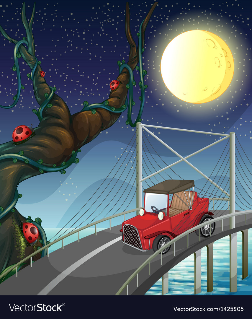 A vintage car passing across the bridge vector | Price: 1 Credit (USD $1)
