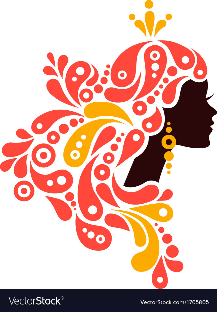 Beautiful woman silhouette tattoo of abstract girl vector | Price: 1 Credit (USD $1)