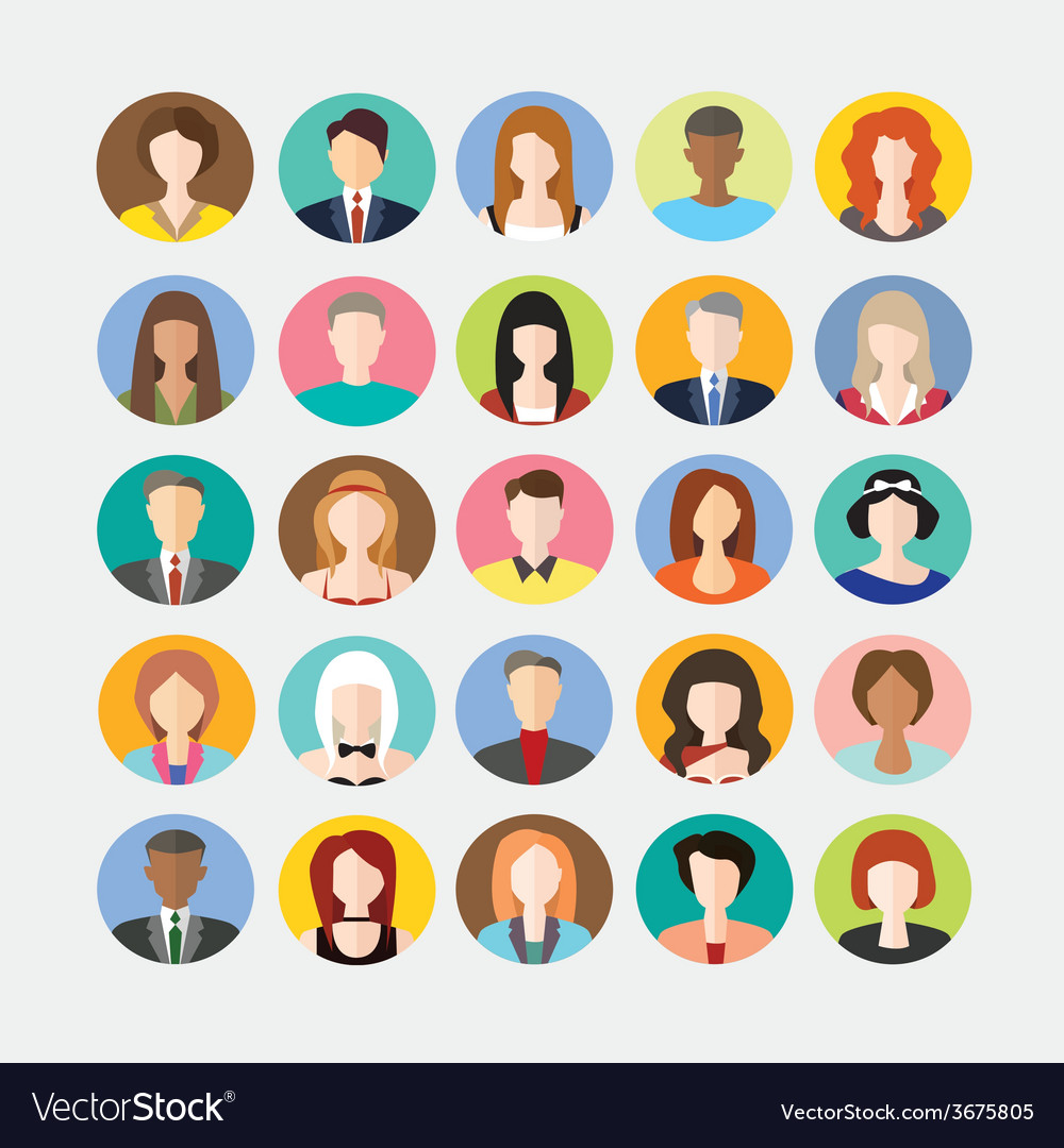 Big set of avatars profile pictures flat icons vector | Price: 1 Credit (USD $1)