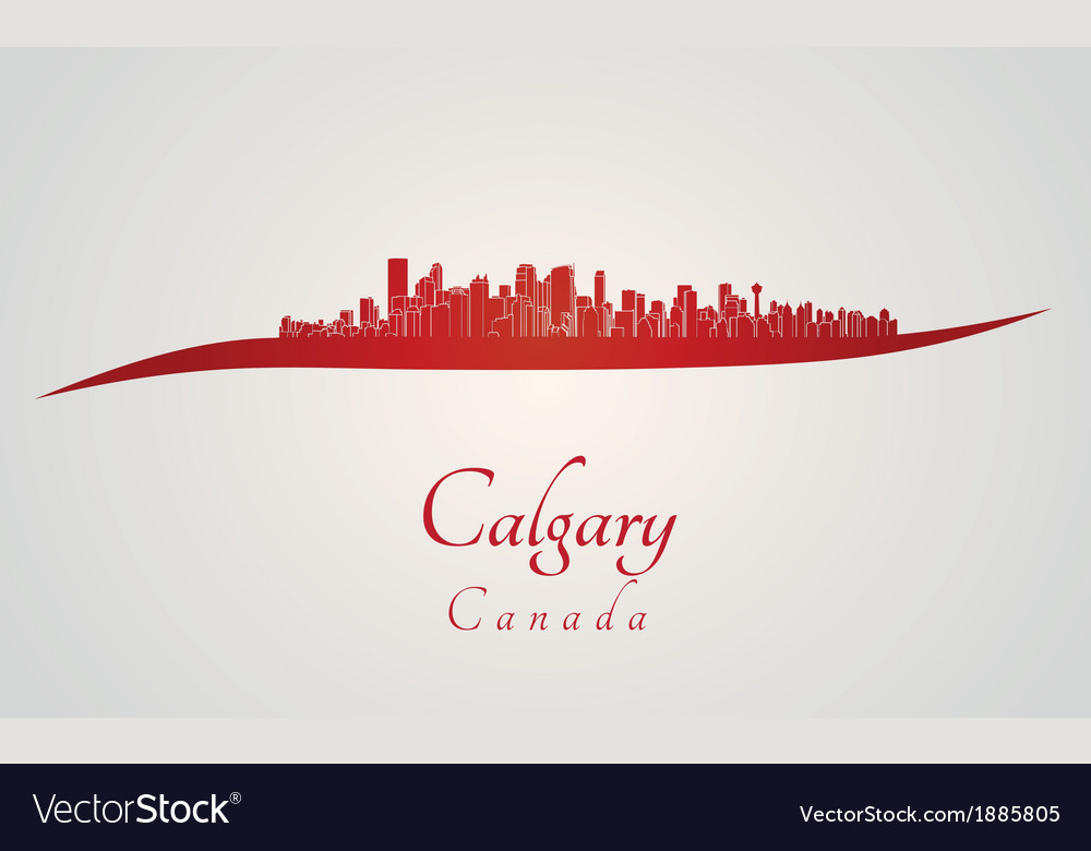 Calgary skyline in red vector | Price: 1 Credit (USD $1)