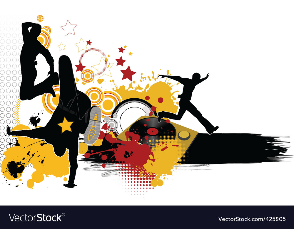 Dancing youth men music city vector | Price: 1 Credit (USD $1)