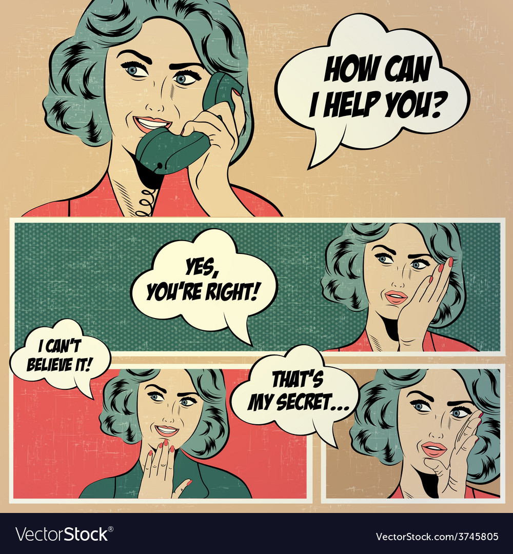 For comic books with retro woman in pop art style vector | Price: 1 Credit (USD $1)