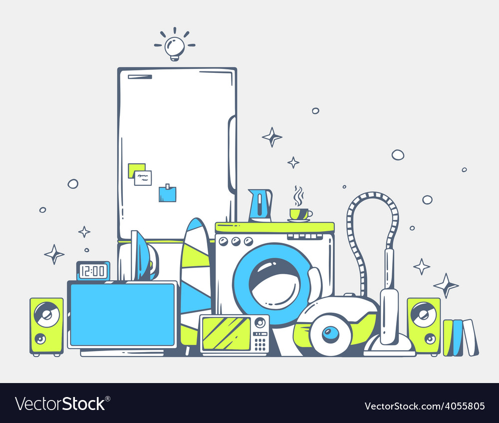 Large pile of blue and green household ap vector | Price: 1 Credit (USD $1)