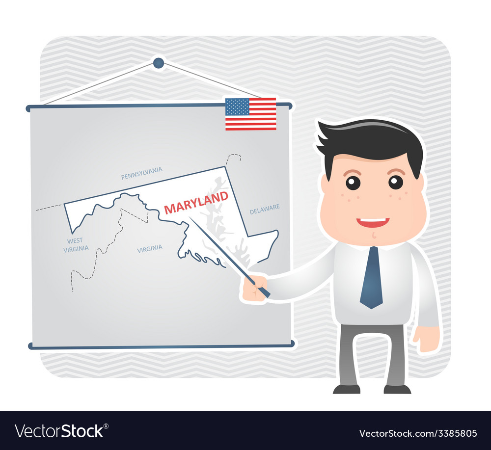 Man with a pointer points to a map of maryland vector | Price: 1 Credit (USD $1)