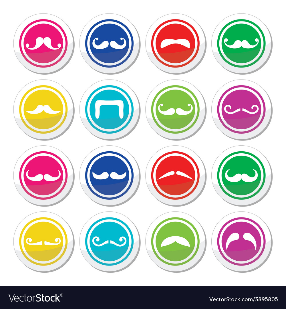 Moustache or mustache round colorful icons vector | Price: 1 Credit (USD $1)
