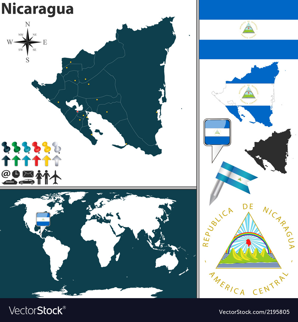 Nicaragua map world vector | Price: 1 Credit (USD $1)