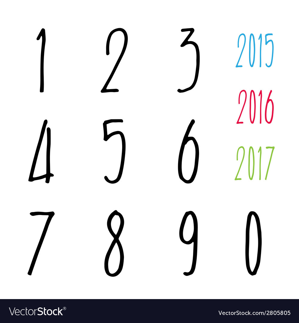Numbers 0-9 written with a brush vector | Price: 1 Credit (USD $1)