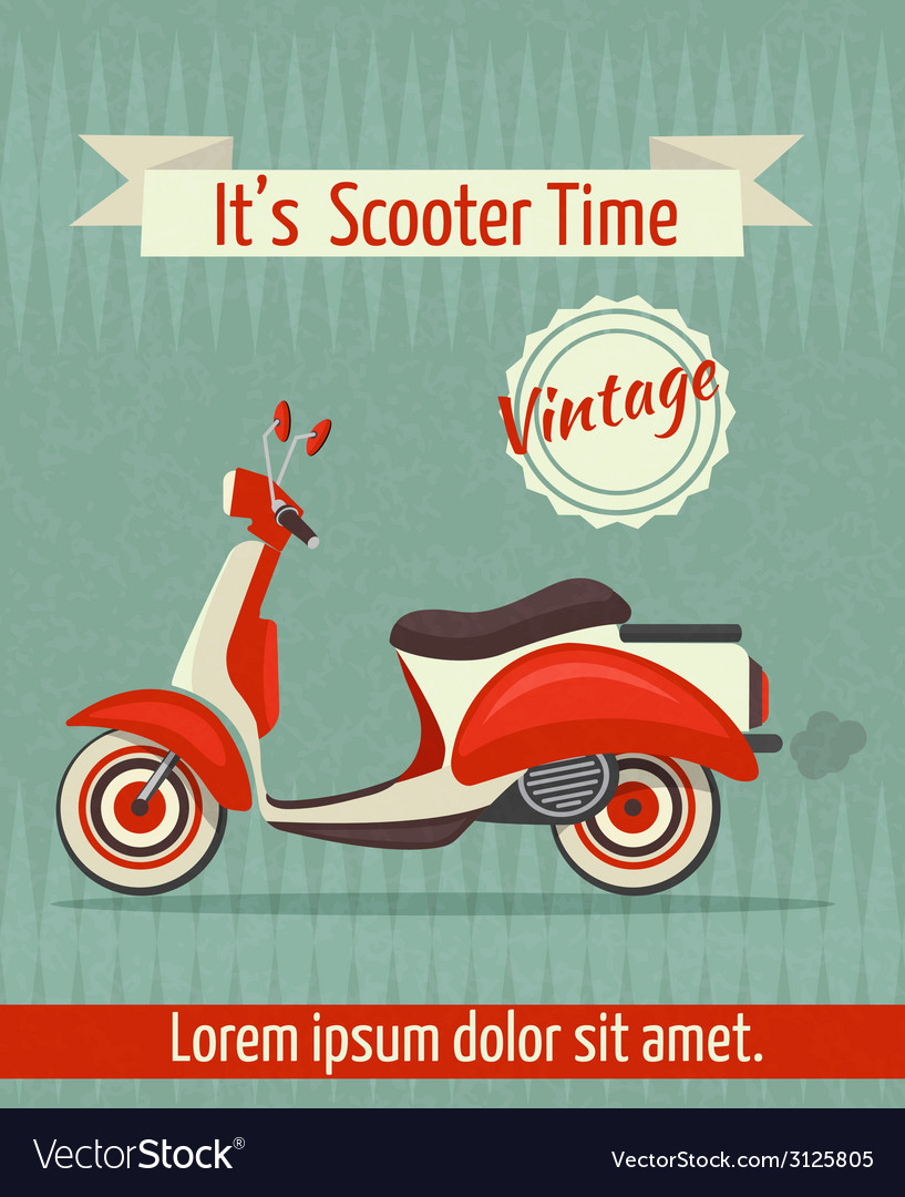 Scooter retro poster vector | Price: 1 Credit (USD $1)