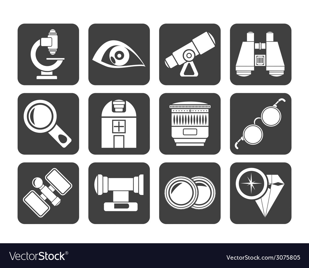 Silhouette optic and lens equipment icons vector | Price: 1 Credit (USD $1)