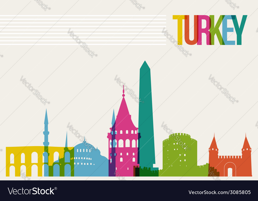 Travel turkey destination landmarks skyline vector | Price: 1 Credit (USD $1)