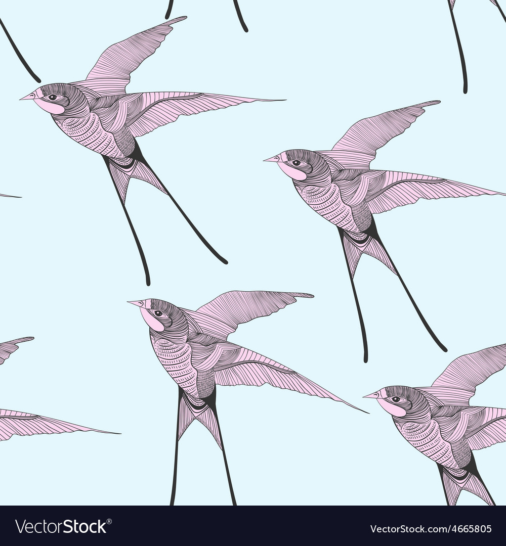 Zentangle stylized swallow seamless pattern hand vector
