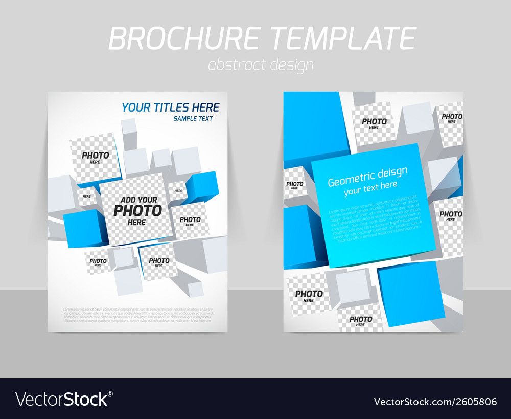 Brochure template with blue squares vector | Price: 1 Credit (USD $1)