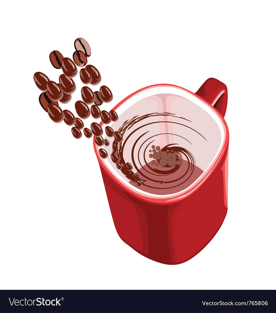 Cup of coffee with flying beans vector | Price: 1 Credit (USD $1)