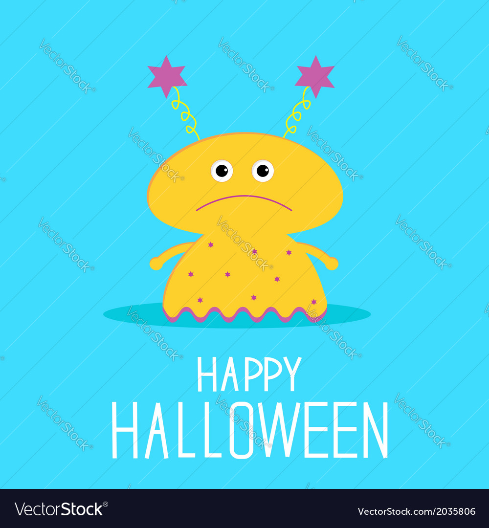 Cute cartoon yellow monster girl halloween card vector | Price: 1 Credit (USD $1)