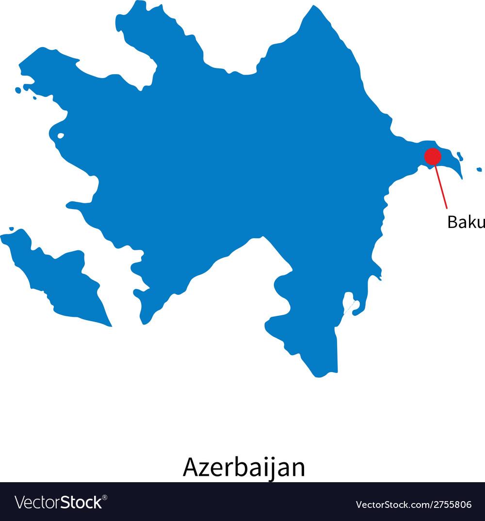 Detailed map of azerbaijan and capital city baku vector | Price: 1 Credit (USD $1)